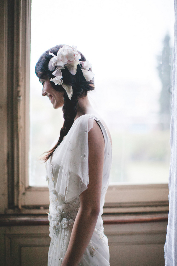 Floral Hairpiece in Braided Hair