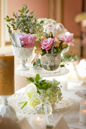 Florals and Lace in Milk Glass Vase