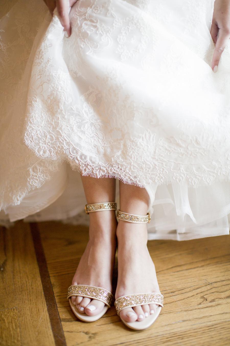 edb113c28bf Gold Glitter Bridal Sandals - Elizabeth Anne Designs  The Wedding Blog