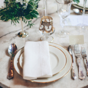 Gold Rimmed Wedding China