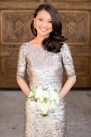 Gold Sequin Bridesmaids Dress