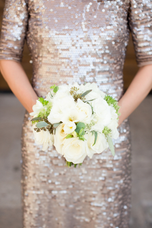 Gold Sequin Bridesmaids Dress with Sleeves