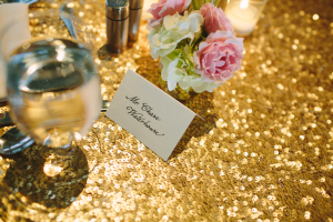 Gold Sequin Table Linens