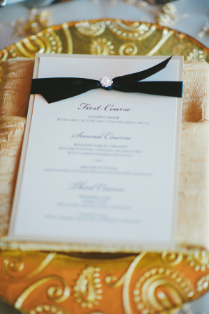 Gold and Black Reception Place Setting