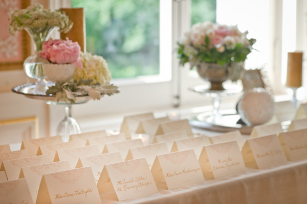 Gold and Pink Escort Card Table