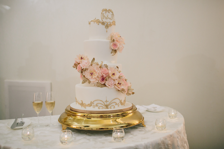 Gold And Blush Pink Wedding Cakes