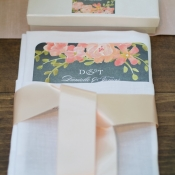 Gray and Pink Floral Reception Stationery