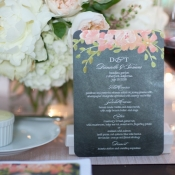 Gray and Pink Flower Reception Menu