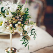 Green and Cream Reception Centerpiece