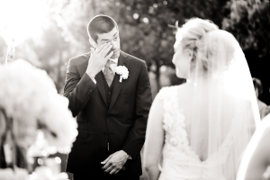 Groom Crying at Ceremony