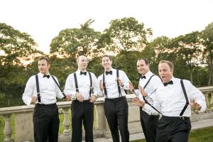 Groom and Groomsmen in Suspenders