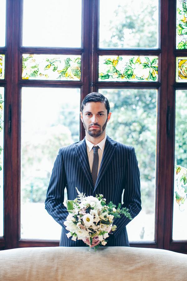 Groom in Blue Striped Suit