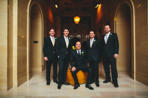 Groomsmen in Champagne Ties
