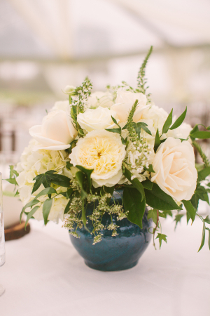Ivory Centerpiece in Blue Vase