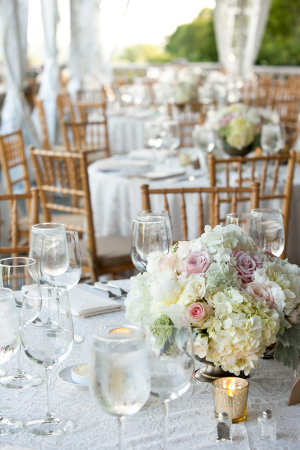 Ivory and Pink Hydrangea and Rose Centerpiece