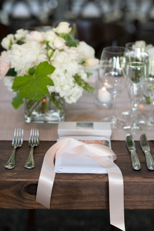 Ivory and Pink Reception Table Decor