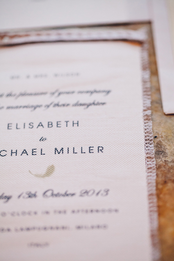 Lace Edging on Wedding Invitation