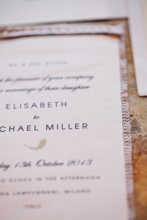 Lace Edging on Wedding Invitation