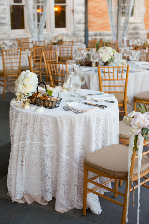Lace Tablecloths on Reception Tables