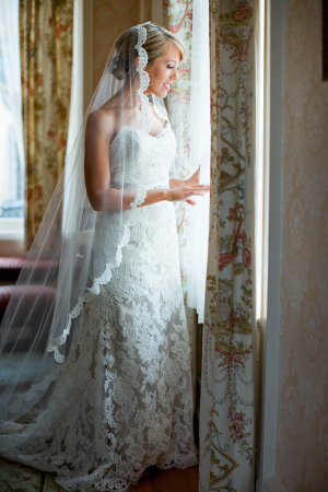 Lace Veil and Bridal Gown