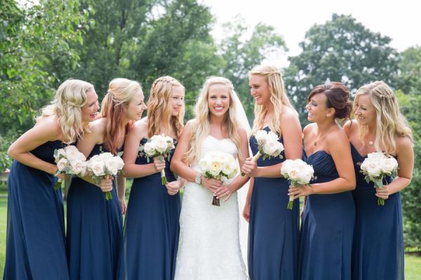 Long Navy Bridesmaids Dresses