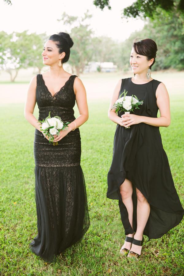 Mismatched Black Bridesmaids Dresses