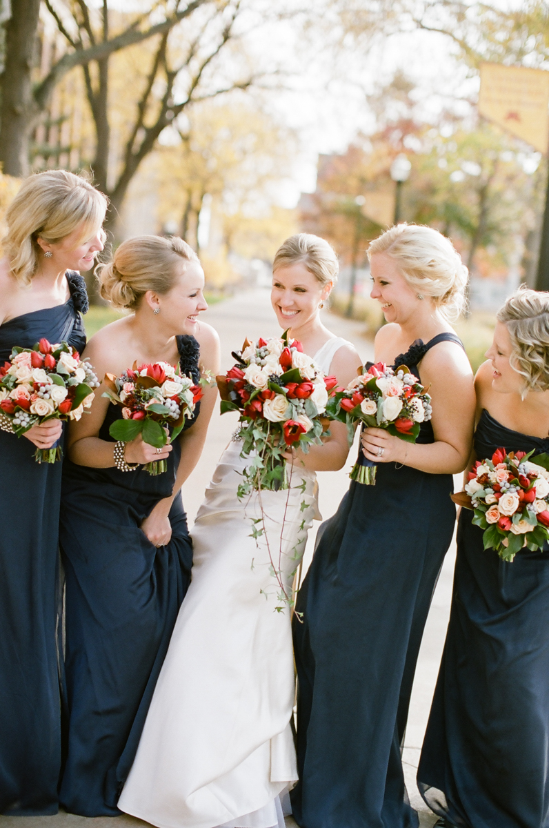 Navy Chiffon Bridesmaids