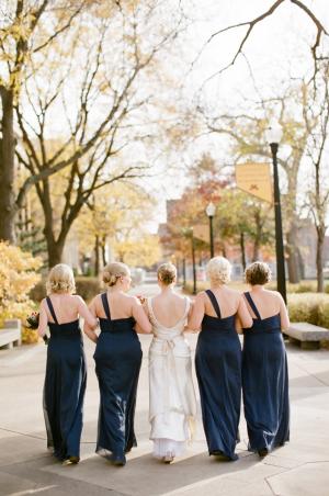 One Shoulder Navy Bridesmaids Dresses