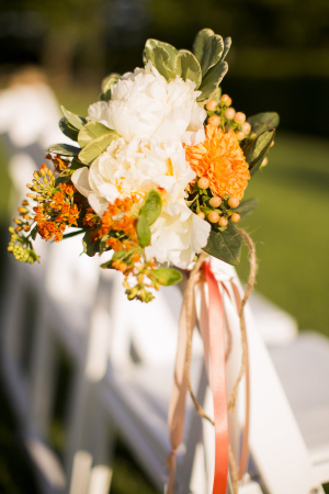 Orange and Green Fall Flowers Aisle Decor