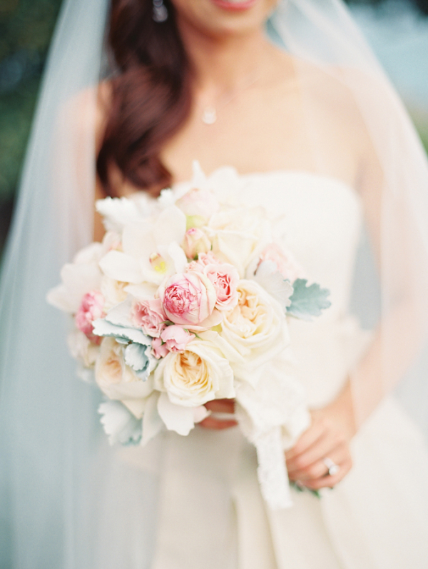 Pastel Floral and Dusty Miller Bridal Bouquet