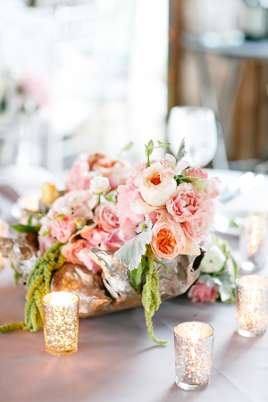 Peach and Pink Reception Florals