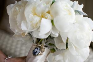 Pearl Locket on Bridal Bouquet