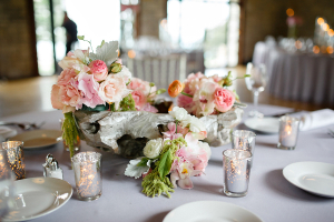 Pink, Cream, and Green Reception Arrangement