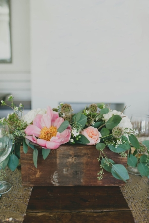 Pink Flower and Greenery Centerpiece