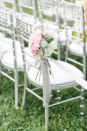Pink Ranunculus and Dusty Miller Aisle Decor
