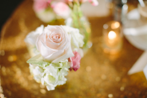 Pink Rose and Gold Sequin Reception Ideas
