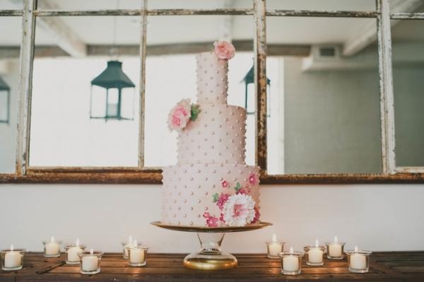 Pink Three Tier Wedding Cake