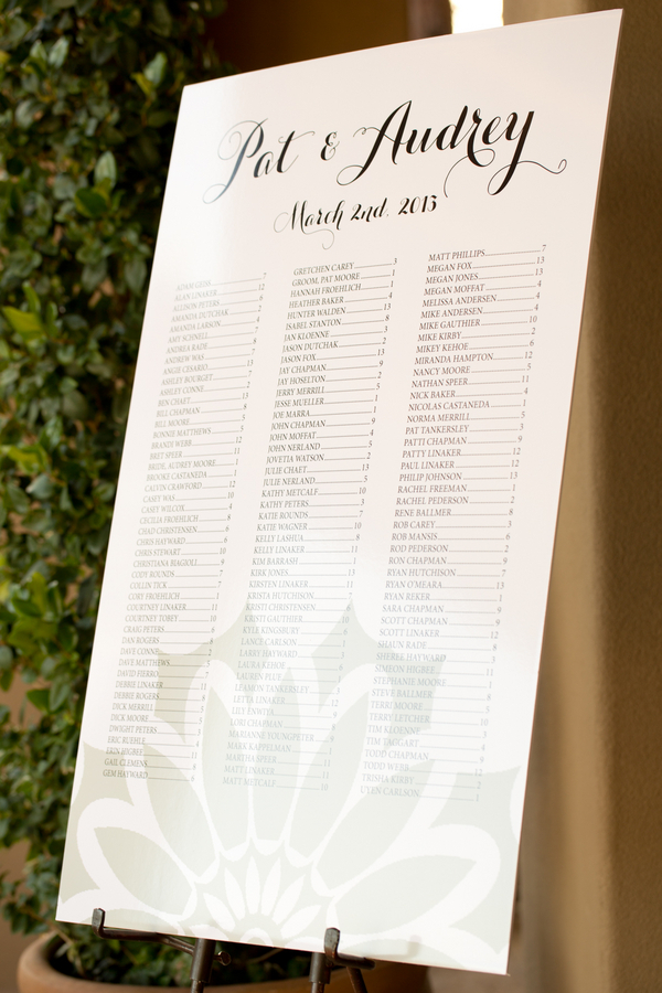 Poster Size Seating Chart