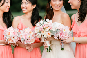 Ranunculus, Peony, and Dusty Miller Bouquets