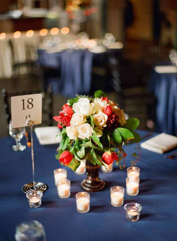 Rose and Magnolia Reception Centerpiece