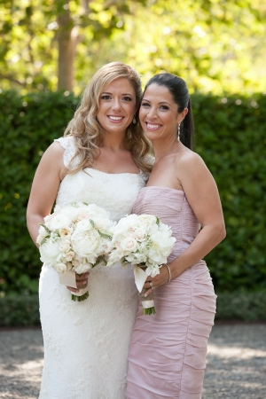 Ruched Pink Strapless Bridesmaids Dress
