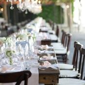Rustic Wood Farm Tables Reception Decor