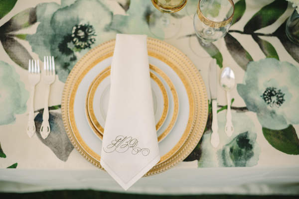 Teal and Gold Place Setting