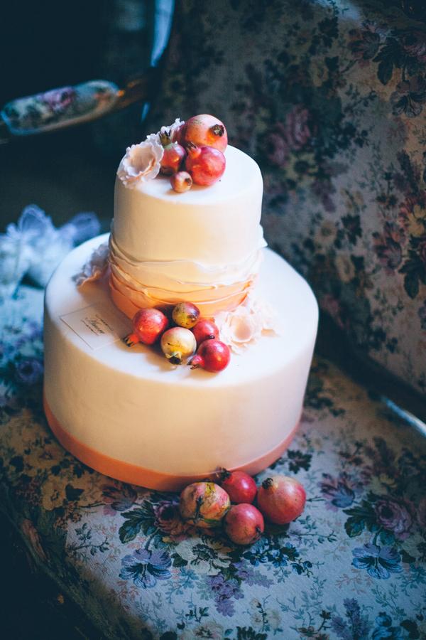 Wedding Cake with Pomegranates