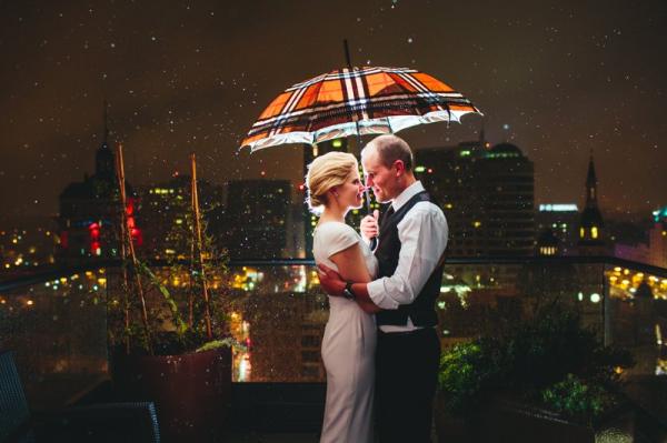 Wedding Portrait Under Umbrella