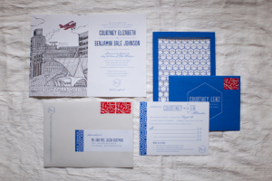 Whimsical Blue and Red Wedding Stationery