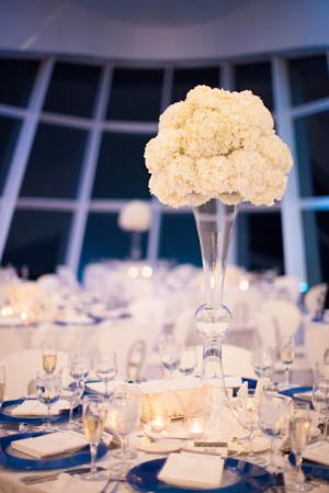 White Hydrangea Topiary Centerpiece