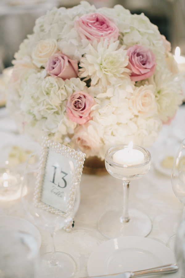 White and pink rose centerpiece elizabeth anne designs