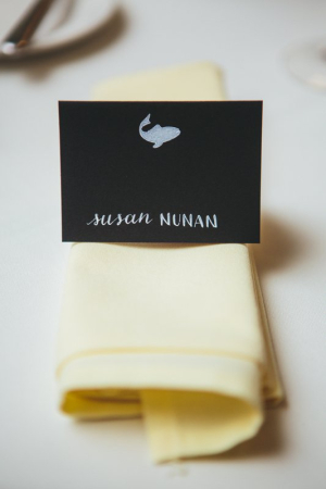 White on Black Place Card