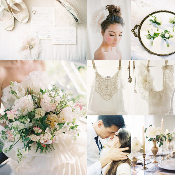 Winter White Gold Green Wedding Colors